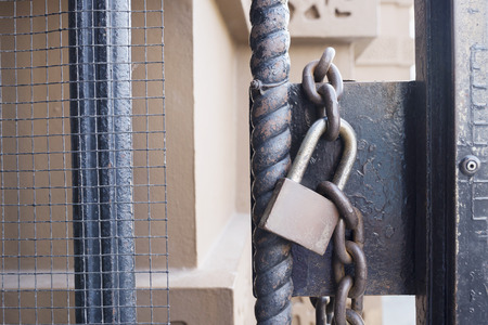 locked: locked door with chain Stock Photo