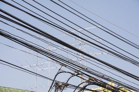 electric wires: electric wires and antenna Stock Photo