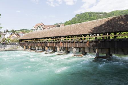 barrage: wooden barrage in Thun ,Switzerland Editorial