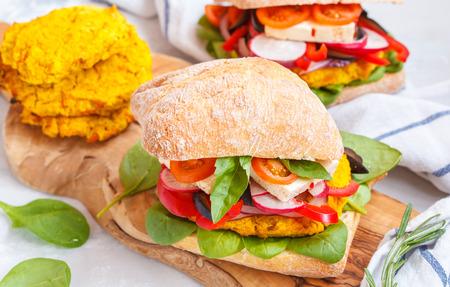 Vegan burgers with lentils, tofu and vegetables. Vegan Healthy Food Concept.