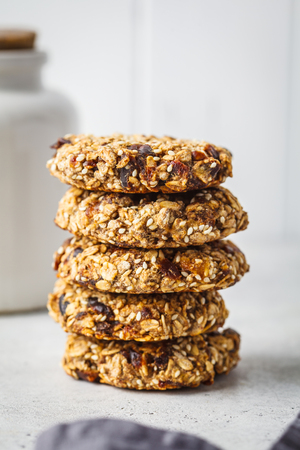 Oatmeal cookies with dates. Healthy vegan dessert concept. Reklamní fotografie