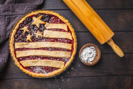 American flag berry pie. Independence Day of America concept.