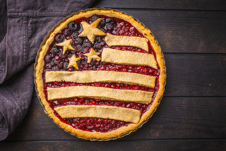 American flag berry pie, copy space. Independence Day of America concept.