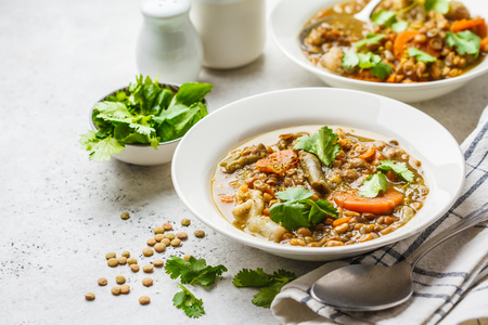 Lentil soup with vegetables in a white plate, white background. Plant based food, clean eating. Zdjęcie Seryjne