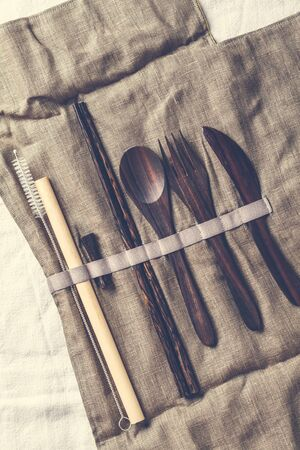 Eco friendly wooden bamboo cutlery in a tissue box. Plastic free concept. Stok Fotoğraf