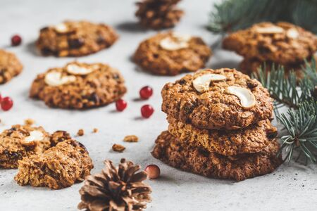 Christmas cranberry and nuts cookies. Christmas dessert concept.