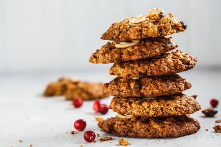 Healthy oatmeal cookies with cranberries and nuts. Healthy vegan food concept.
