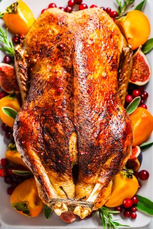 Christmas baked duck with herbs and fruits on a gray plate.
