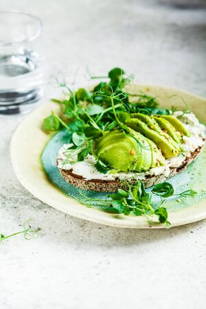 Rye bread toast with cream cheese and avocado on a beautiful plate, copy space. Healthy breakfast concept. Stock Photo