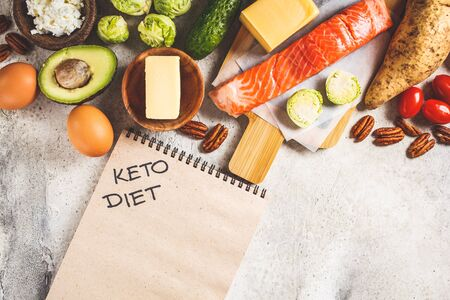 Keto diet food concept. Fish, eggs, cheese, nuts, butter and vegetables - ingredients keto diet, top view. Stock Photo - 132958264