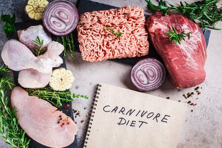 Carnivore diet concept. Raw meat of chicken, beef, minced meat and turkey fillet on a dark background.