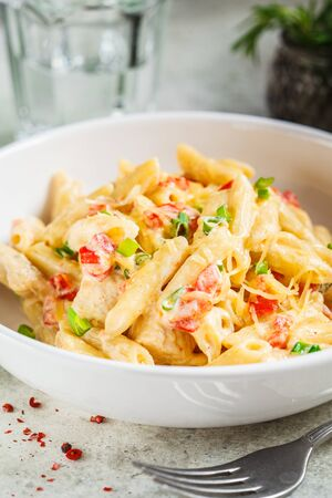 Penne pasta with chicken, pepper and green onions in a creamy sauce in a white plate, gray background.