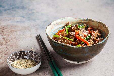 Asian teriyaki beef with green onions and sesame seeds in a beautiful bowl, gray background, copy space. Stockfoto