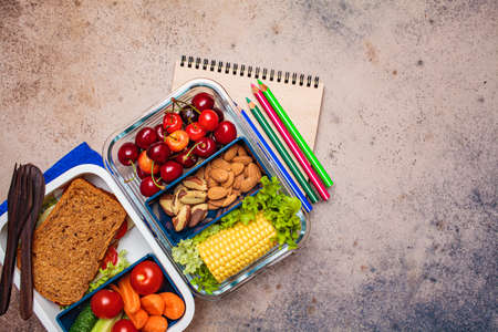 Back to school concept. Lunch box with healthy fresh food. Sandwich, vegetables, fruits and nuts in a food container, dark background. Zdjęcie Seryjne