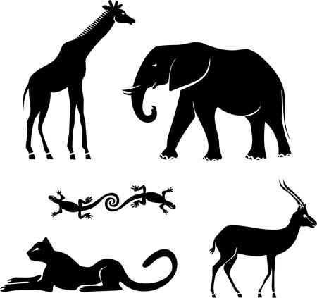 siluetas de elefantes: Animales africanos