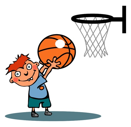 athlete cartoon: Funny basketball player Illustration