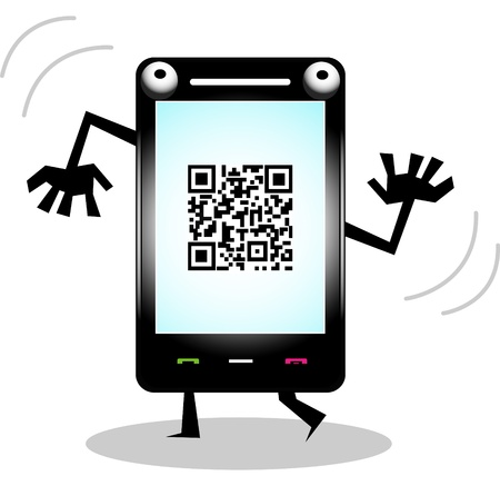 rapidity: funny cell phone with qr code  Illustration