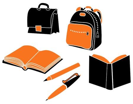 school bag, satchel, pencil and books