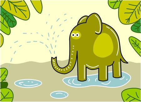 herbivore natural: Funny elephant  Illustration