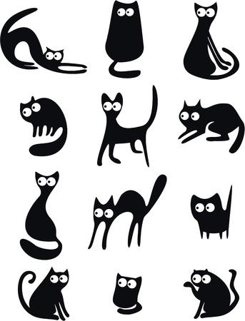 silhouette chat: Silhouettes de chat noir