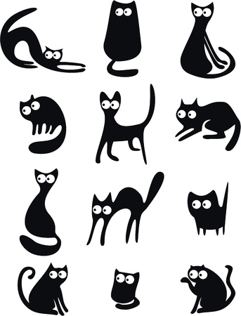 cat drawing: Siluetas de gato negro Vectores