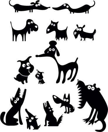 Funny dogs silhouettes
