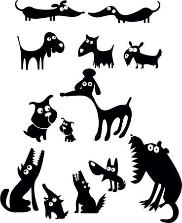 grappige honden: Grappige honden silhouetten