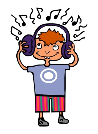 Funny cartoon boy listening to music Stock Vector - 10567800