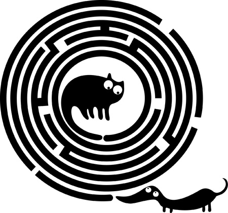 Funny dog and cat in round maze