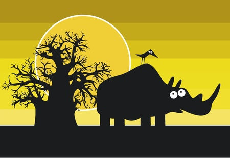 africa baobab tree: Funny silhouette of african rhinoceros  Illustration