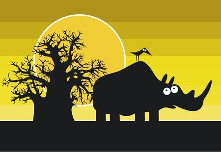 baobab: Funny silhouette of african rhinoceros  Illustration