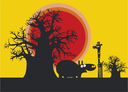 africa baobab tree: Funny silhouettes of african hippopotamus and giraffe