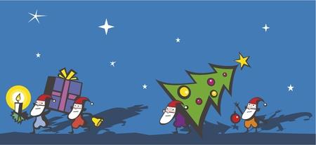 dwarfs: Funny Christmas Dwarfs  Illustration