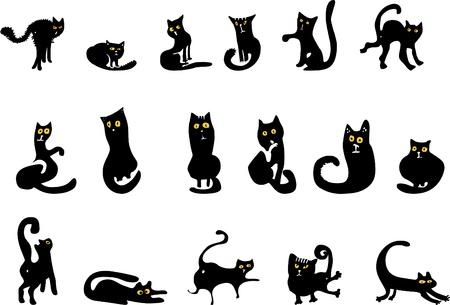 silueta de gato: conjunto de siluetas de gato negro  Vectores