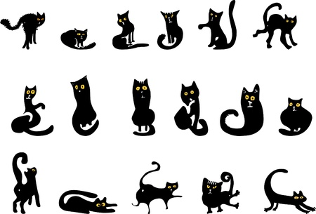 set of black cat silhouettes Stock Vector - 10767248