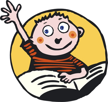 pointing hand: Pupil raising up his hand  Illustration