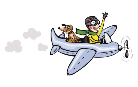 pilot wings: Funny cartoon pilot and dog  Illustration