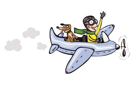 piloto de avion: Piloto divertido de la historieta y el perro Vectores