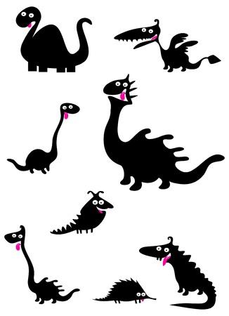 cartoons outline: Funny dinosaurs