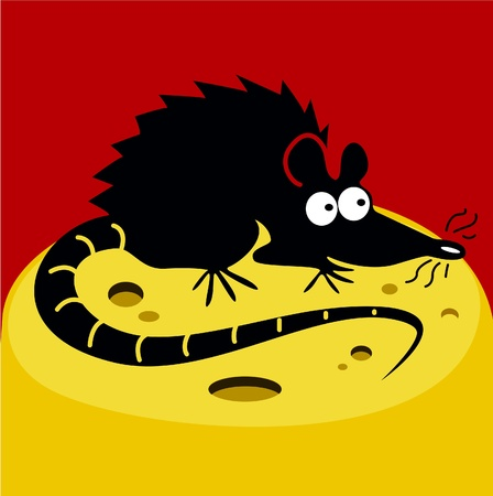 Funny rat and cheese Stock Vector - 11138611