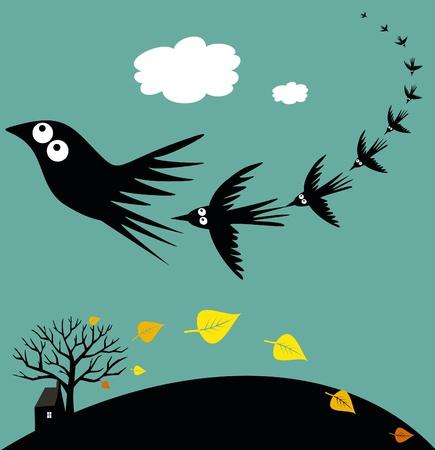 bandada pajaros: Las aves migratorias Vectores