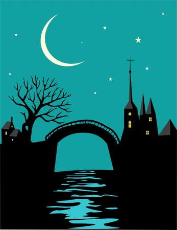 luz de luna: Paisaje nocturno con el castillo y el río Vectores