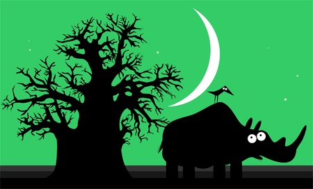 Funny silhouette of african rhinoceros over night sky  Vector