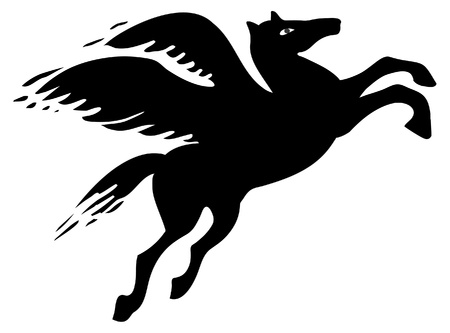 mythical: Pegasus silhouette Illustration