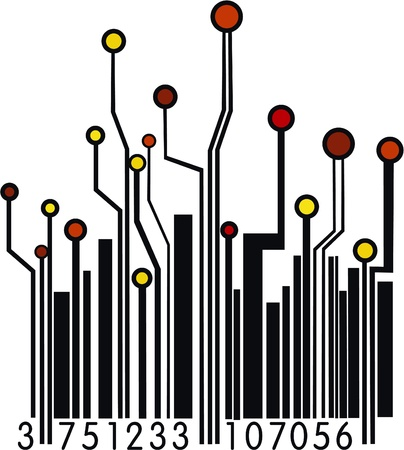 Circuit Board Barcode  Vector