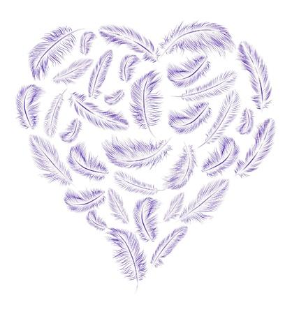 corazon con alas: Plumas en forma de coraz�n