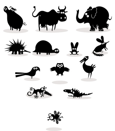 hedgehog: Set of black animal silhouettes