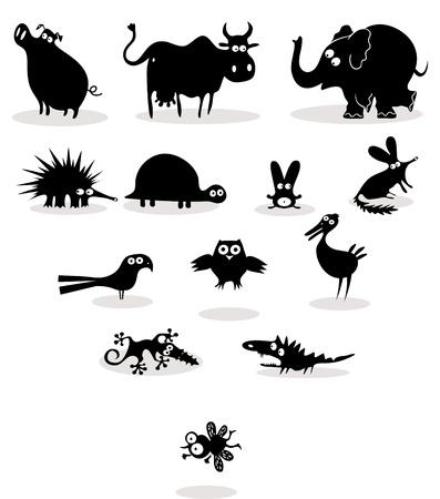 egel: Set van zwarte silhouetten van dieren Stock Illustratie