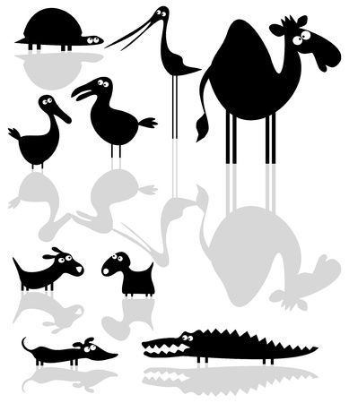 Set of cartoon animal silhouettes  Vector
