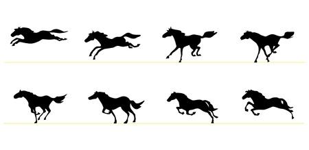 horse tail: Ejecuci�n de las siluetas de caballos